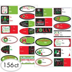 Christmas Adhesive Gift Tags 156ct