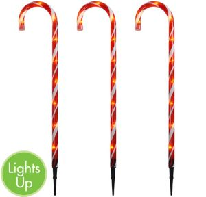 Light-Up Candy Cane Yard Stakes 3ct