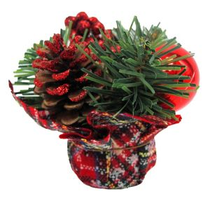 Red Plaid Holiday Burlap Centerpiece