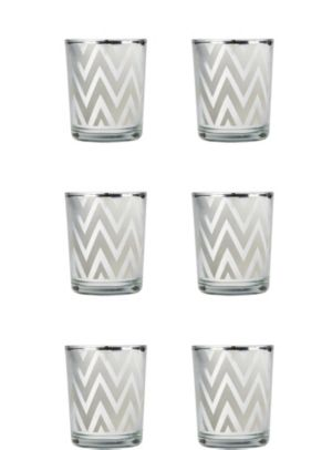 Silver Chevron Votive Candle Holders 6ct