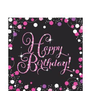 Happy Birthday Lunch Napkins 16ct - Pink Sparkling Celebration