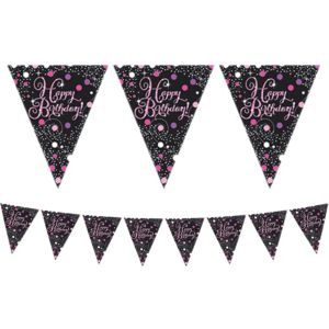 Prismatic Happy Birthday Pennant Banner - Pink Sparkling Celebration