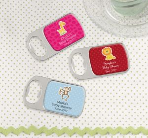 Personalized Baby Shower Bottle Openers - Silver (Printed Epoxy Label) (Sky Blue, Damask)
