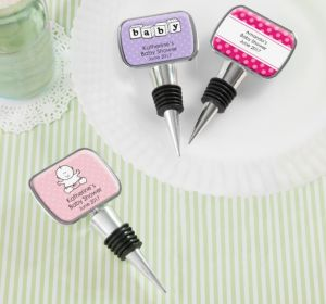 Personalized Baby Shower Bottle Stoppers (Printed Epoxy Label) (Lavender, Honeycomb)