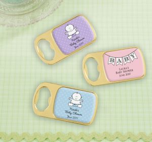 Personalized Baby Shower Bottle Openers - Gold (Printed Epoxy Label) (Bright Pink, Whale)