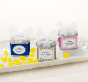 Personalized Baby Shower Favor Tins with Bows, Set of 12 (Printed Label) (Lavender, Scallops)