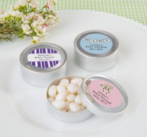 Personalized Round Candy Tins - Silver, Set of 12 (Printed Label) (Lavender, Baby Banner)