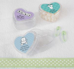 Personalized Baby Shower Heart-Shaped Plastic Favor Boxes, Set of 12 (Printed Label) (Robin's Egg Blue, Mustache)