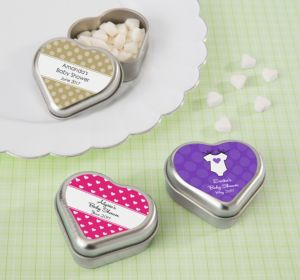 Personalized Baby Shower Heart-Shaped Mint Tins with Candy (Printed Label) (Robin's Egg Blue, Pram)