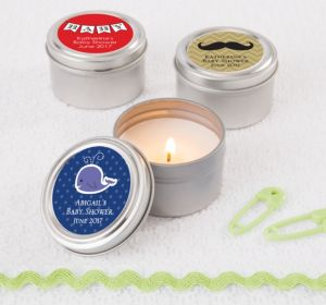 Personalized Baby Shower Candle Tins (Printed Label) (Lavender, Whale)