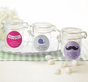 Personalized Baby Shower Small Glass Jars (Printed Label) (Silver, Pram)