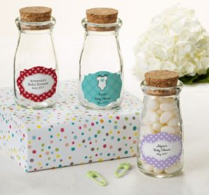 Personalized Baby Shower Glass Milk Bottles with Corks (Printed Label) (Sky Blue, Scallops)