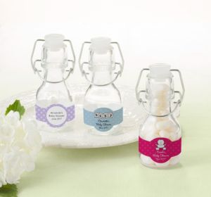 Personalized Baby Shower Glass Swing Top Bottles (Printed Label) (Sky Blue, Quatrefoil)