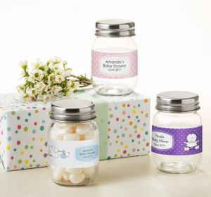 Personalized Baby Shower Mini Glass Mason Jars (Printed Label) (Silver, Bee)