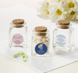 Personalized Baby Shower Small Glass Bottles with Corks (Printed Label) (Robin's Egg Blue, Pram)