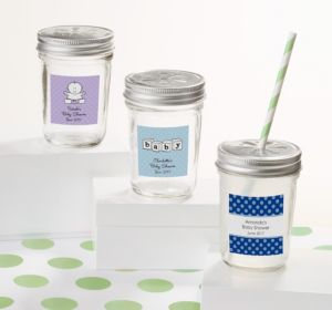 Personalized Baby Shower Mason Jars with Daisy Lids (Printed Label) (Pink, Baby Banner)