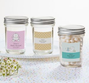 Personalized Baby Shower Mason Jars with Solid Lids (Printed Label) (Lavender, Greek Key)
