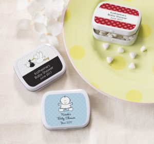 Personalized Baby Shower Mint Tins with Candy (Printed Label) (Sky Blue, Mod Dots)