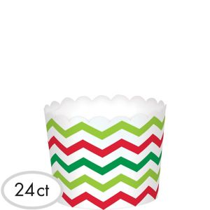 Chevron Christmas Scalloped Bowls 24ct