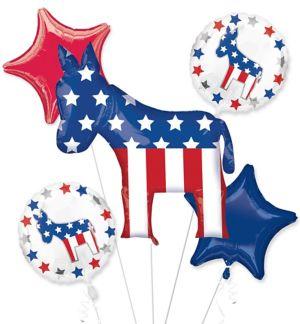 Democrat Balloon Bouquet 5pc - Giant Donkey