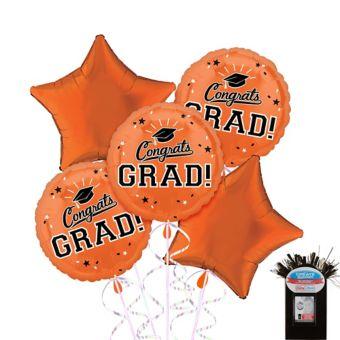 Orange Graduation Balloon Bouquet 5pc