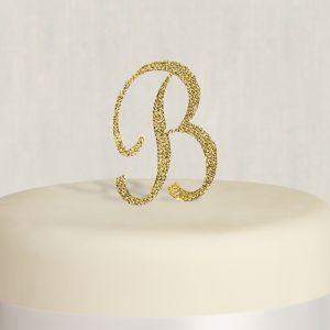 Rhinestone Gold Monogram B Cake Topper