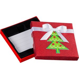 Glitter Red Christmas Tree Gift Card Holder Box