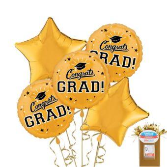 Gold Graduation Balloon Bouquet 5pc