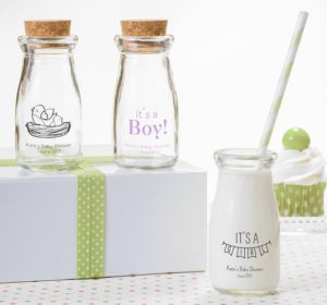 Personalized Baby Shower Glass Milk Bottles with Corks (Printed Glass) (Navy, Bird Nest)
