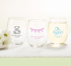Personalized Baby Shower Stemless Wine Glasses 15oz (Printed Glass) (Navy, Baby Bunting)