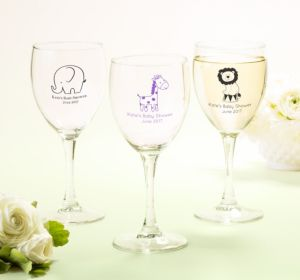 Personalized Baby Shower Wine Glasses (Printed Glass) (Navy, Bird Nest)