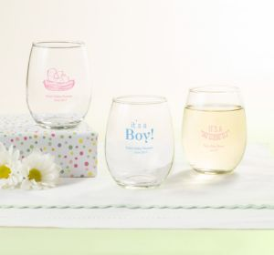 Personalized Baby Shower Stemless Wine Glasses 9oz (Printed Glass) (Navy, Baby Bunting)