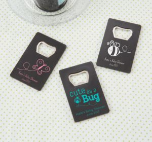 Personalized Baby Shower Credit Card Bottle Openers - Black (Printed Plastic) (Bright Pink, My Little Man - Mustache)