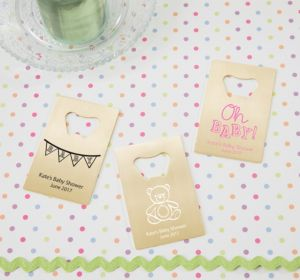 Personalized Baby Shower Credit Card Bottle Openers - Gold (Printed Metal) (Lavender, Baby Bunting)