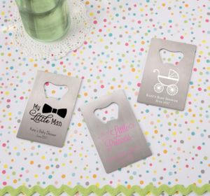 Personalized Baby Shower Credit Card Bottle Openers - Silver (Printed Metal) (White, Cute As A Button)