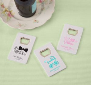 Personalized Baby Shower Credit Card Bottle Openers - White (Printed Plastic) (Sky Blue, My Little Man - Mustache)