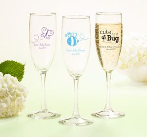 Personalized Baby Shower Champagne Flutes (Printed Glass) (Sky Blue, My Little Man - Bowtie)
