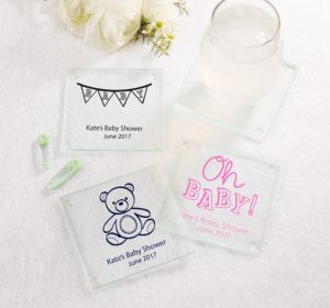 Personalized Baby Shower Glass Coasters, Set of 12 (Printed Glass) (Sky Blue, Bear)