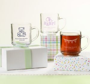 Personalized Baby Shower Glass Coffee Mugs (Printed Glass) (Lavender, Cute As A Button)