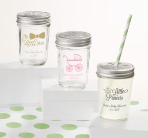 Personalized Baby Shower Mason Jars with Daisy Lids, Set of 12 (Printed Glass) (White, Baby Bunting)