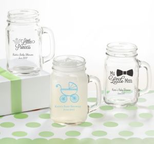 Personalized Baby Shower Mason Jar Mugs (Printed Glass) (Sky Blue, Stork)