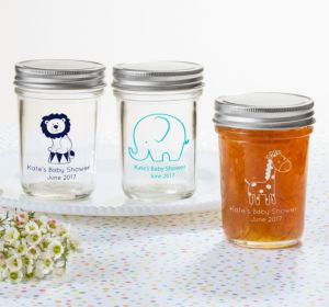 Personalized Baby Shower Mason Jars with Solid Lids (Printed Glass) (Navy, King of the Jungle)