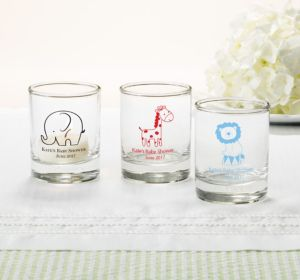 Personalized Baby Shower Shot Glasses (Printed Glass) (Silver, It's A Boy Banner)