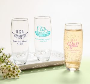 Personalized Baby Shower Stemless Champagne Flutes (Printed Glass) (Lavender, Sweet As Can Bee Script)