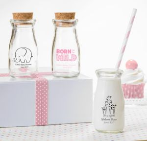 Personalized Baby Shower Glass Milk Bottles with Corks (Printed Glass) (Pink Safari)