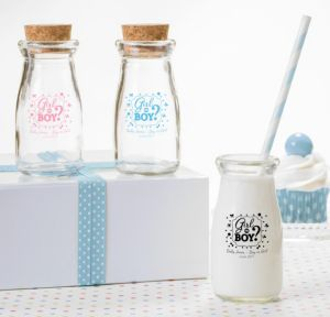 Personalized Baby Shower Glass Milk Bottles with Corks (Printed Glass) (Pink, Gender Reveal)