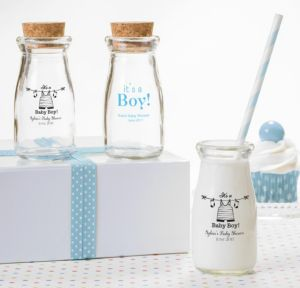 Personalized Baby Shower Glass Milk Bottles with Corks (Printed Glass) (White, Shower Love Boy)