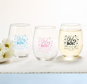 Personalized Baby Shower Stemless Wine Glasses 15oz (Printed Glass) (Black, Gender Reveal)