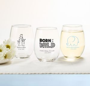 Personalized Baby Shower Stemless Wine Glasses 15oz (Printed Glass) (White, Blue Safari)