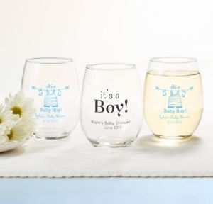 Personalized Baby Shower Stemless Wine Glasses 15oz (Printed Glass) (White, Shower Love Boy)